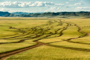 Driving north through Central Mongolia